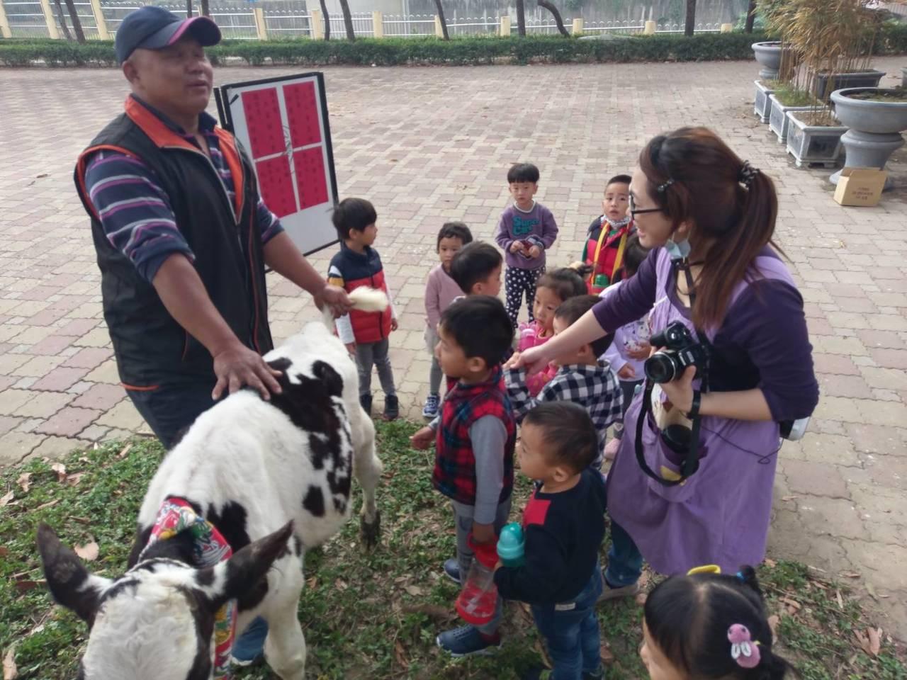 不一樣開學儀式,台南官田渡拔國小摸春牛勤勉向學。圖/渡拔國小提供