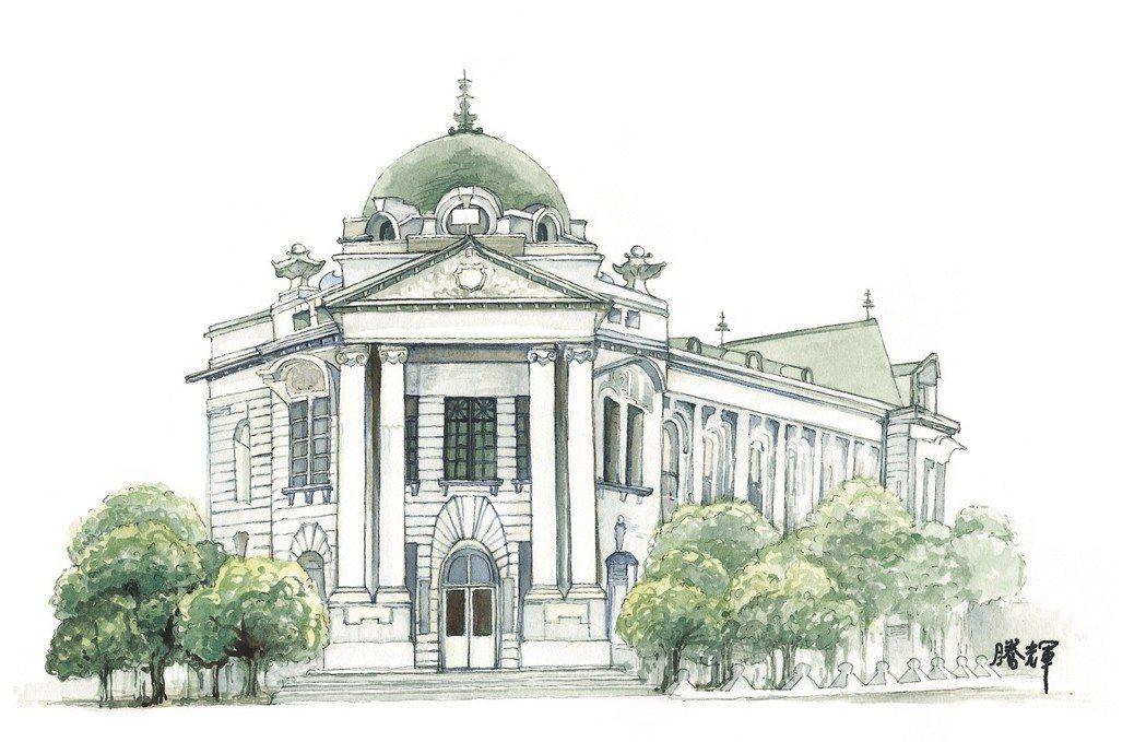 黃騰輝的「台中市役所」水彩畫作品。業者提供