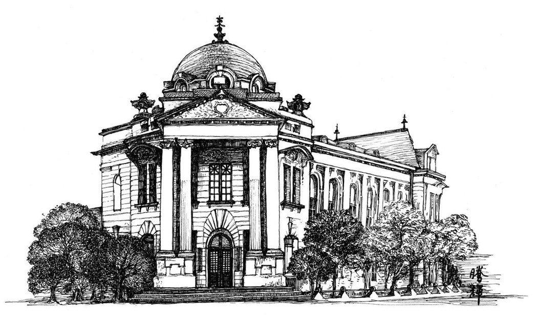 黃騰輝的「台中市役所」鋼筆畫作品。業者提供