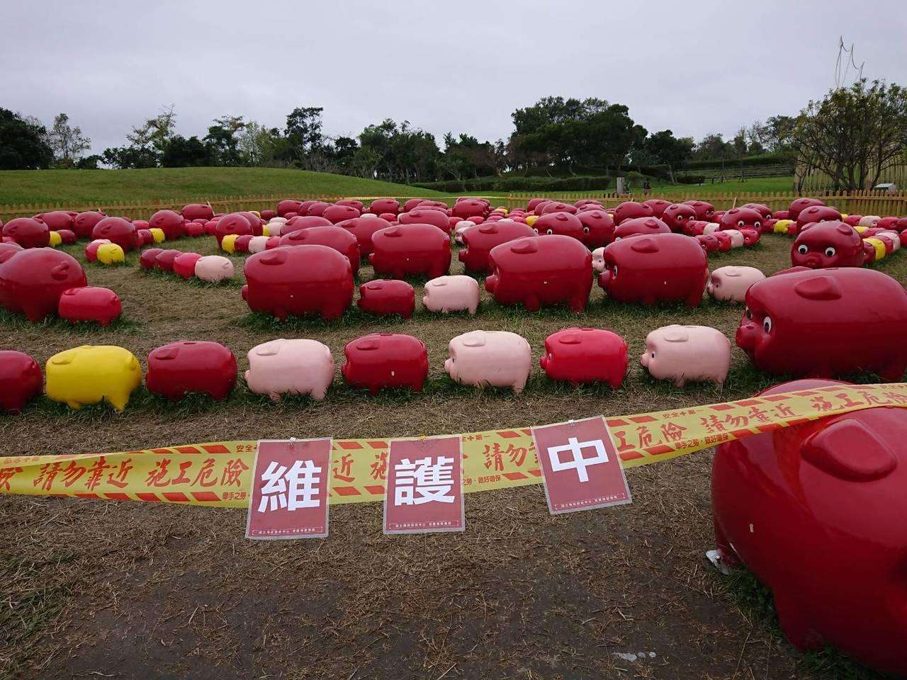 國立傳統藝術中心宜蘭園區今起關閉「百豬迷宮」,把連日來沒了眼睛、掉漆的受傷豬送廠...