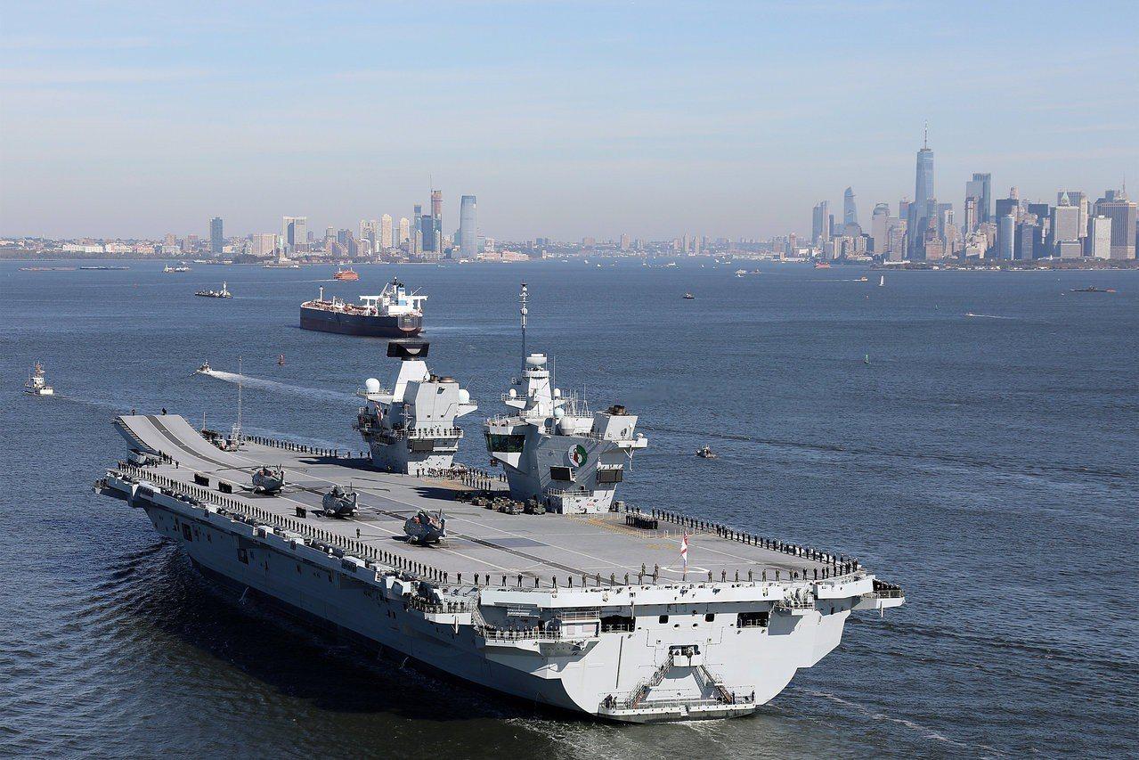 英國伊麗莎白女王號航空母艦。路透