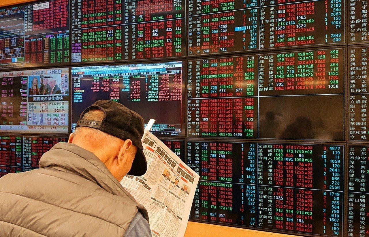 台股上午指數開盤上漲27.83點,以10032.08點開出,投資人邊看報邊看盤。...