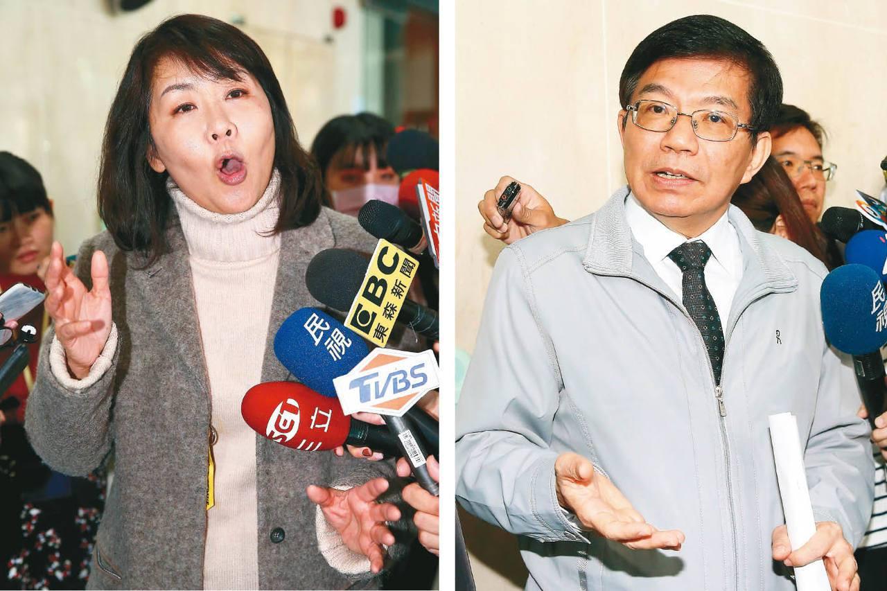 機師工會常務理事陳蓓蓓(左)、交通部次長王國材(右)。 記者余承翰/攝影
