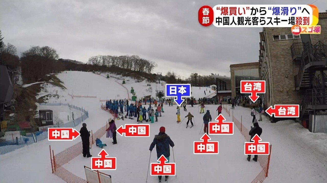 日媒調查顯示農曆春節期間,日本各大滑雪場充斥大量陸客,也不乏台灣遊客。圖擷自《F...