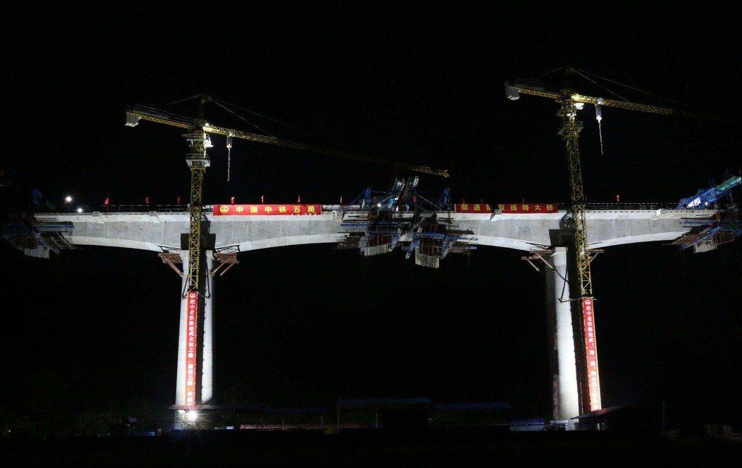 由中國中鐵五局承建的中老鐵路一標那通站雙線特大橋連續梁一月十九日成功合龍,這是中...