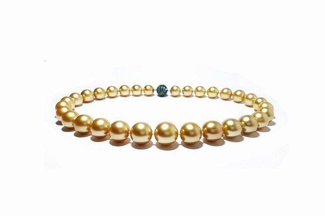 金色南洋珍珠項鍊。(大喨真珠提供)