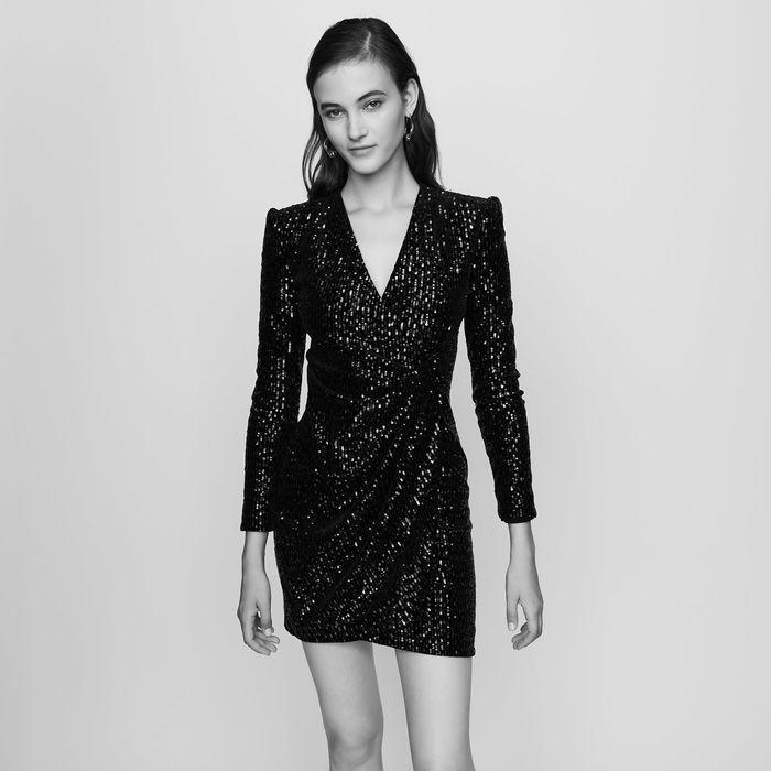 劉寅娜款maje黑色亮片裙已售罄。圖/取自maje官網
