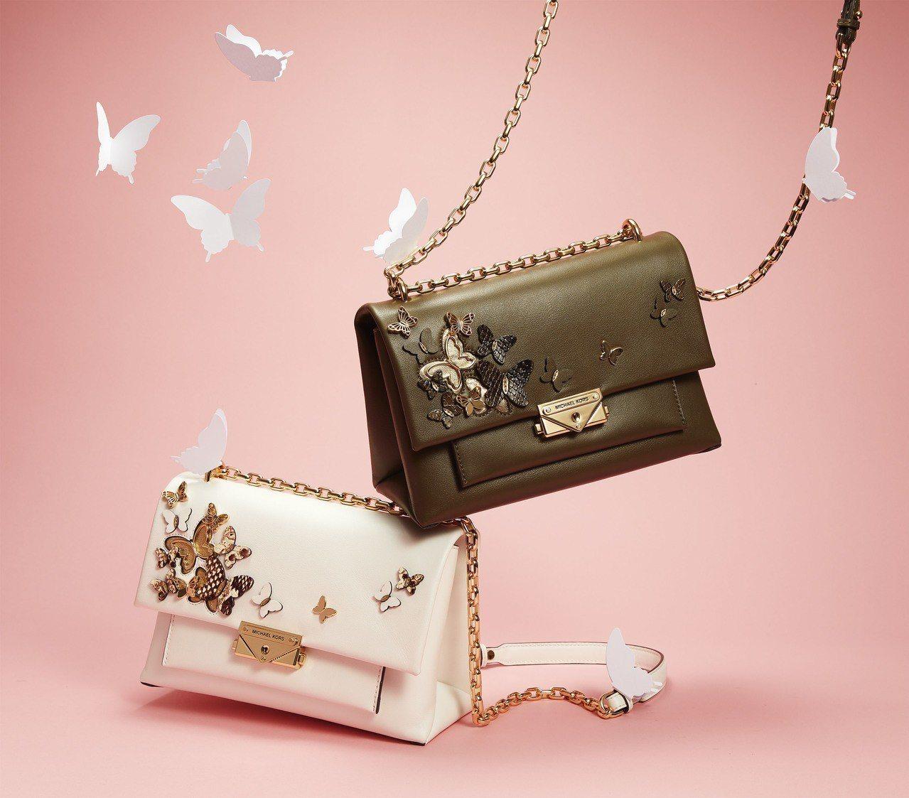 CECE立體蝴蝶裝飾鍊帶包,售價22,500元。圖/MICHAEL KORS提供