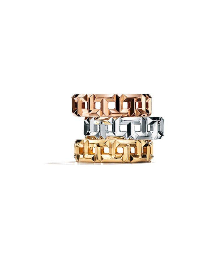 Tiffany T True 寬版鏤空T字設計戒指(由上至下)18K玫瑰金、18...