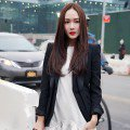 紐約時裝周/Jessica小白襪穿搭很Q 中分頭遮臉夠仙