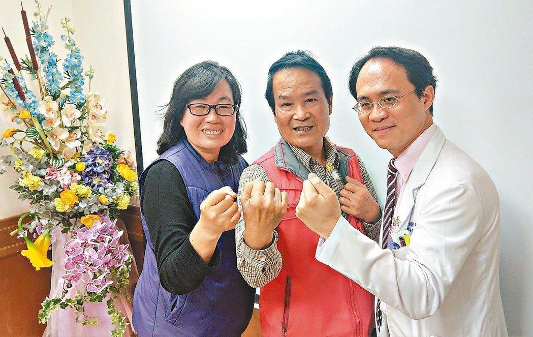 詹姓老闆(中)胰臟癌接受12次化療腫瘤縮小,醫師彭正明(右)建議改以傳統手術切除...