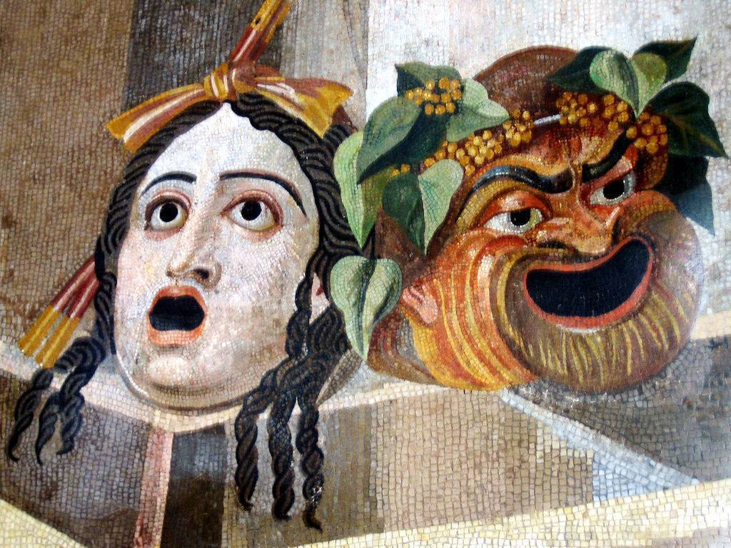 哲學從事的是一種對神、對萬物的「觀看」理論活動。圖為古希臘獻神戲劇中,演員佩戴的...