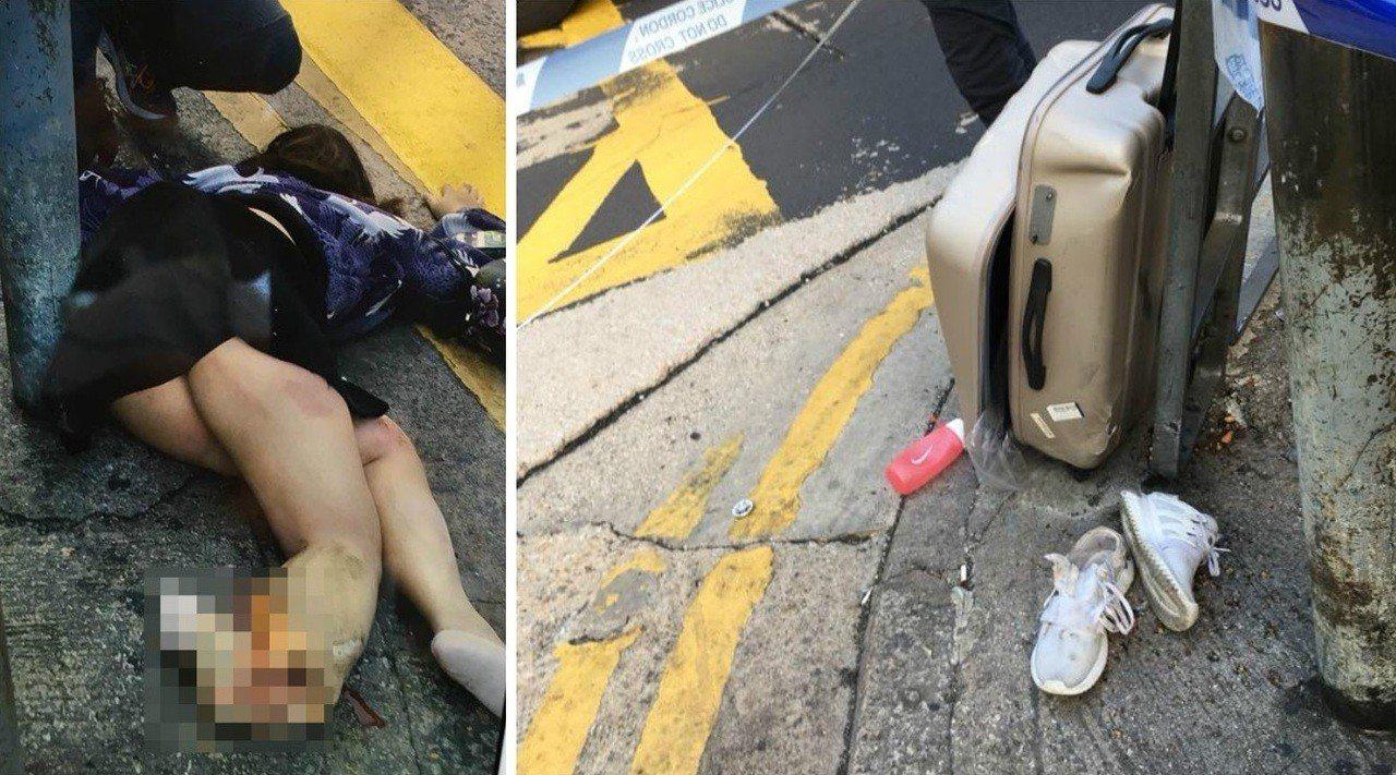 女陸客在香港旺角馬路邊遭巴士輾過右腿,她所提的行李箱也被壓破。圖/擷自澳洲港人A...