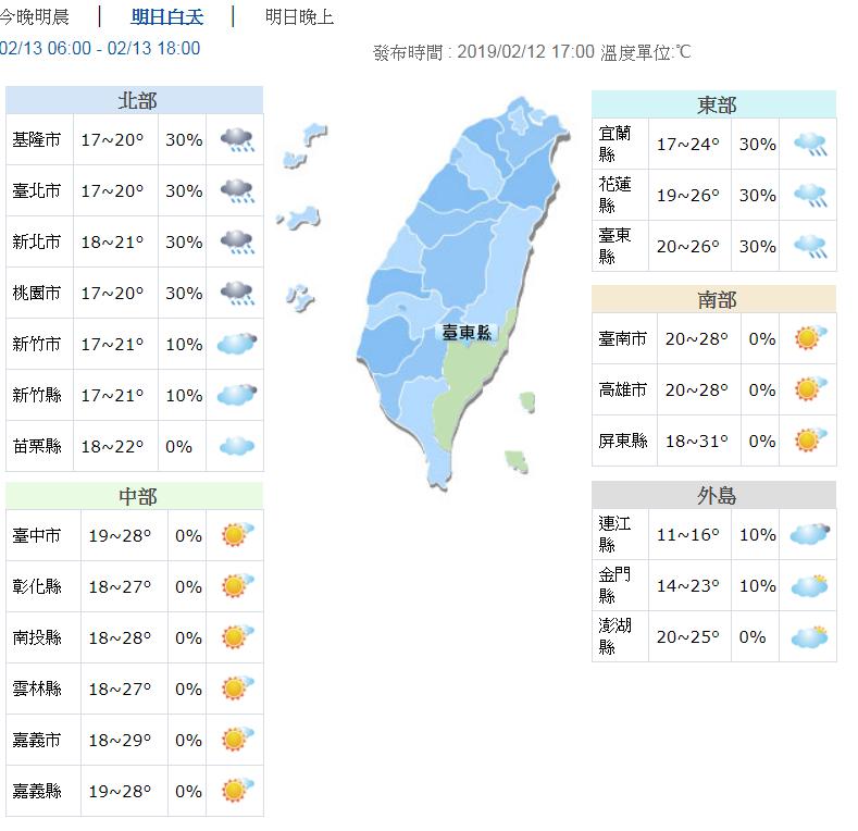 今天東北季風稍稍增強,北部氣溫下降3到5度。圖/氣象局提供