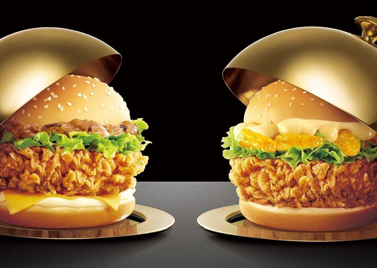 新口味荷蘭醬橘瓣脆腿堡、法式蕈菇咔啦雞腿堡,單點售價119元。圖/肯德基提供