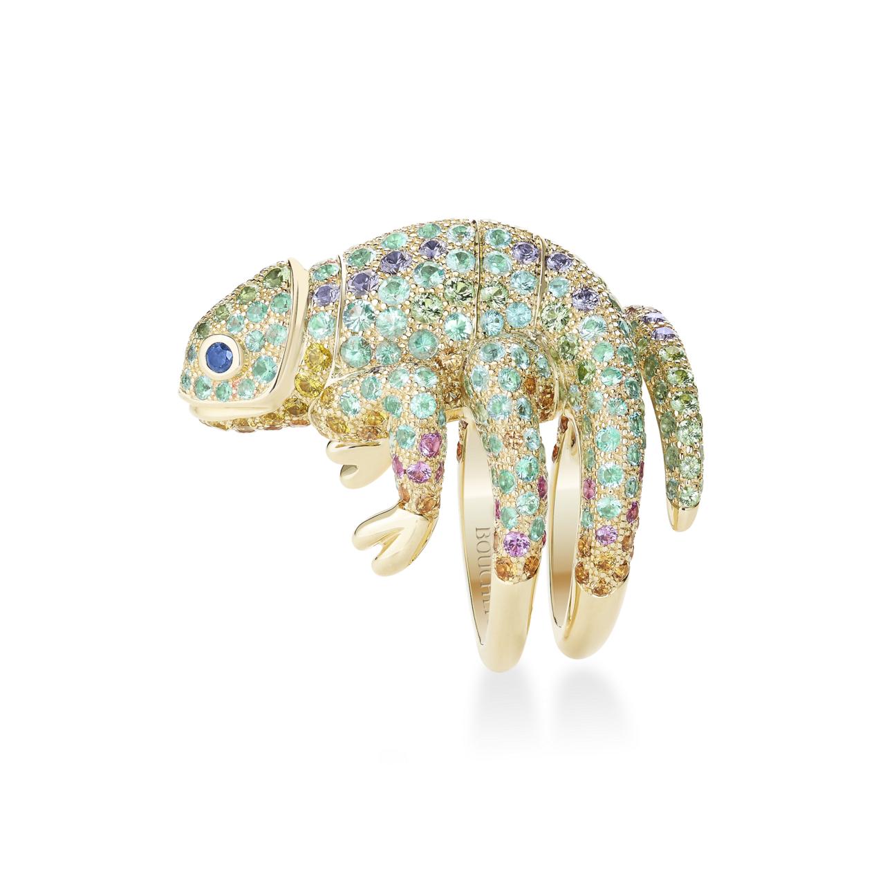 Boucheron Animaux 系列Masy變色龍造型戒指,165萬元。圖/...