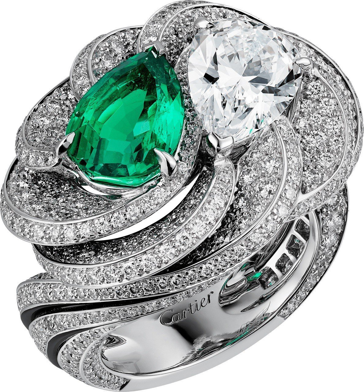 瑞秋懷茲配戴的卡地亞頂級珠寶系列戒指,18K 白金鑲嵌祖母綠、黑色真漆、鑽石,未...
