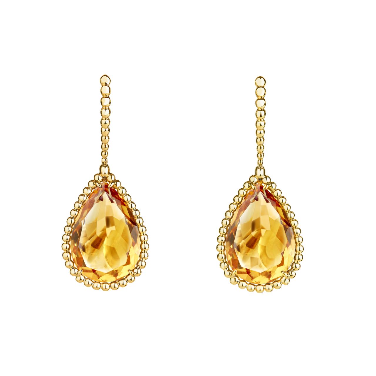 莎瑪海耶克配戴的Serpent Bohème系列耳環,黃k金鑲嵌2顆梨形黃水晶共...