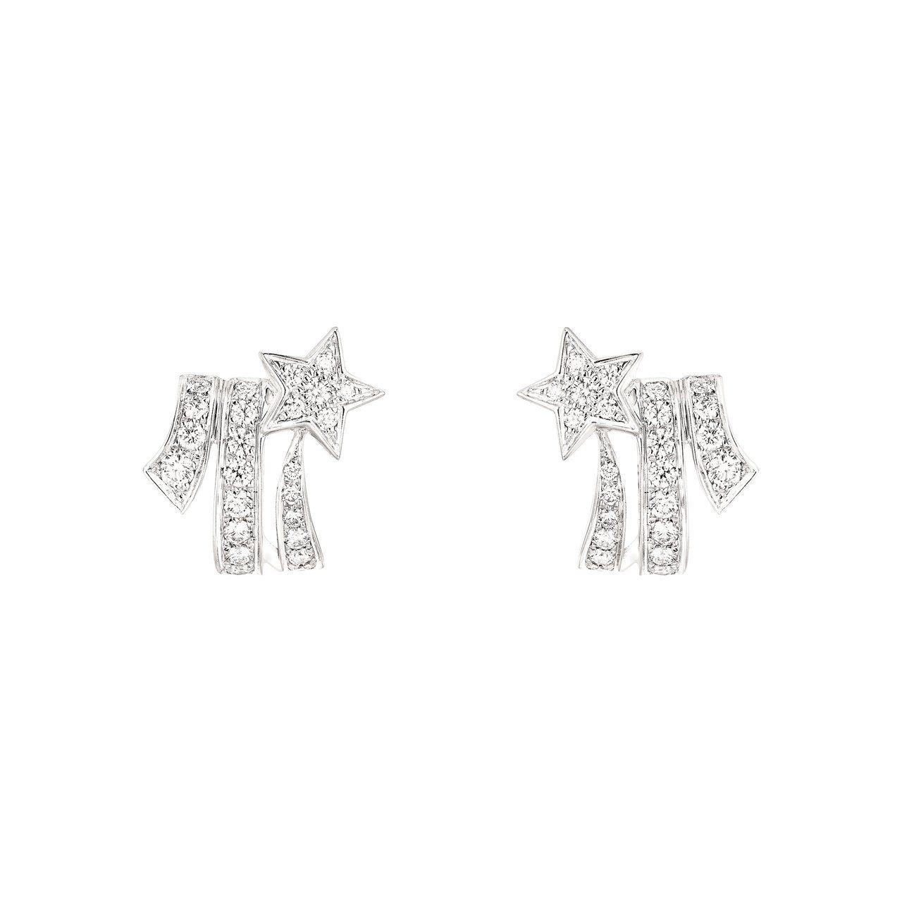 瑪格羅比配戴的Comete白K金鑲鑽耳環,價格店洽。 圖/香奈兒提供