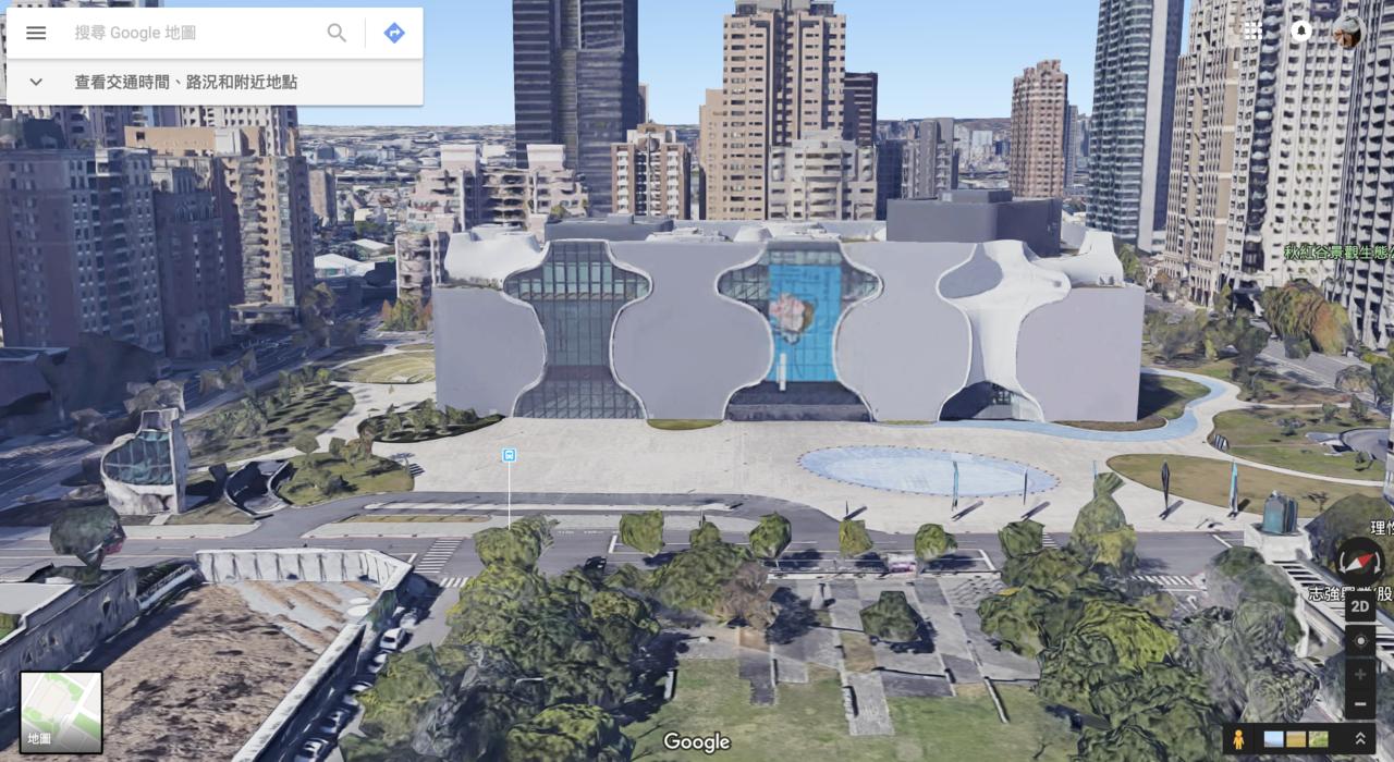 台中歌劇院的獨特造型在3D地圖中非常醒目。圖/摘自Google地圖