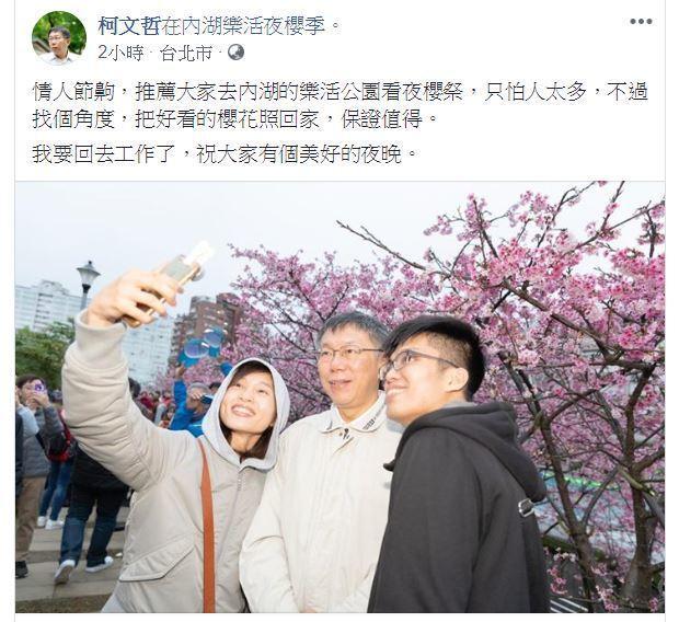 台北市長柯文哲(中)昨在臉書應景「過情人節」,推薦大家去內湖的樂活公園看夜櫻祭。...