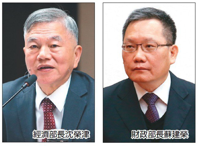 經濟部長沈榮津(左)、財政部長蘇建榮(右)。 (聯合報系資料庫)