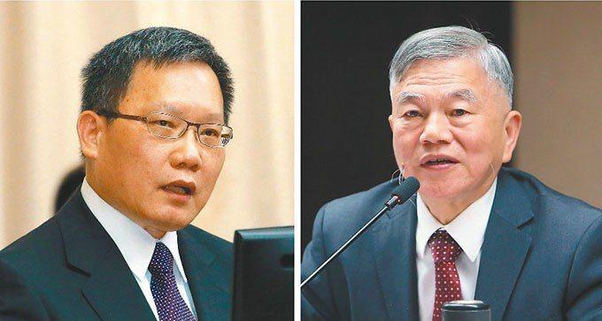 財政部長蘇建榮(左)經濟部長沈榮津(右)