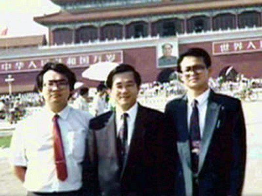 陳水扁(中)在天安門廣場的留影。 圖/取自網路