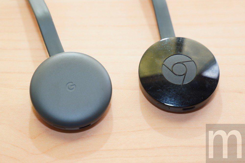 與先前推出的Chromecast (右)外觀比較