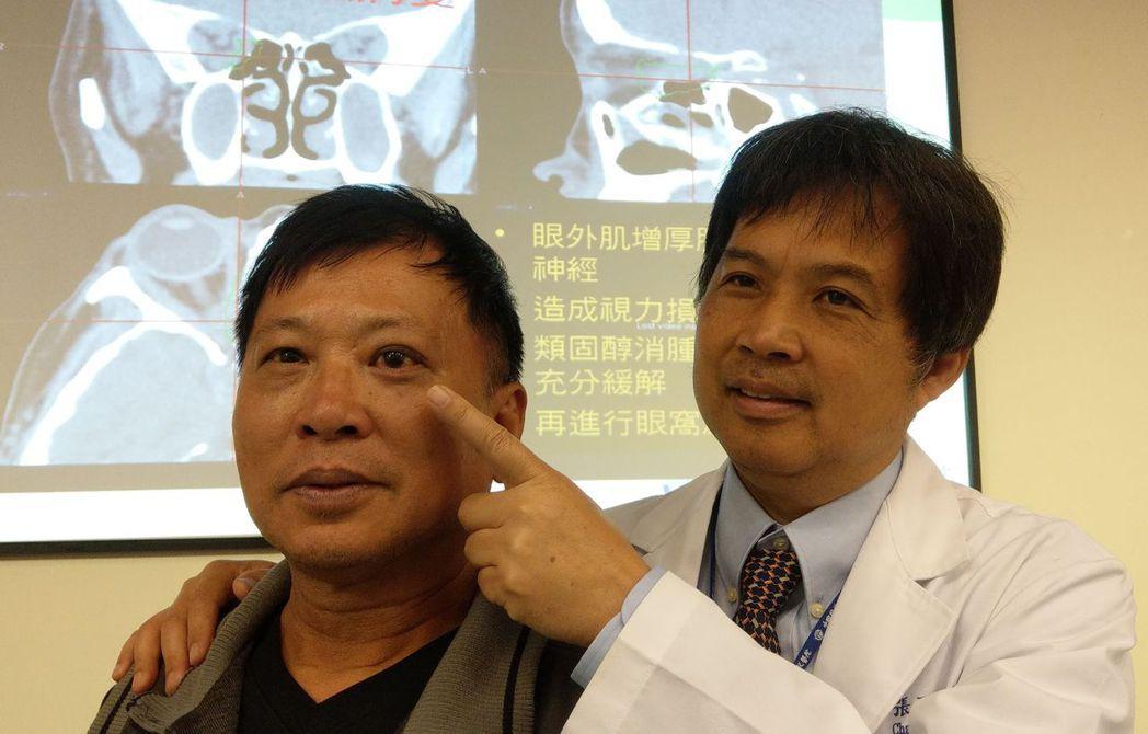 醫師張丞賢(右)說明,嚴姓男病患(左)接受內視鏡經鼻腔手術,深入左眼窩底部,並配...