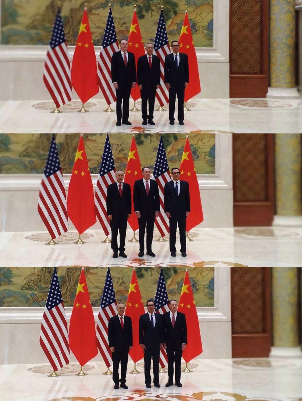 新一輪中美經貿高級別磋商14日上午在北京登場,但雙方代表合照卻得拍三次。據稱,這...