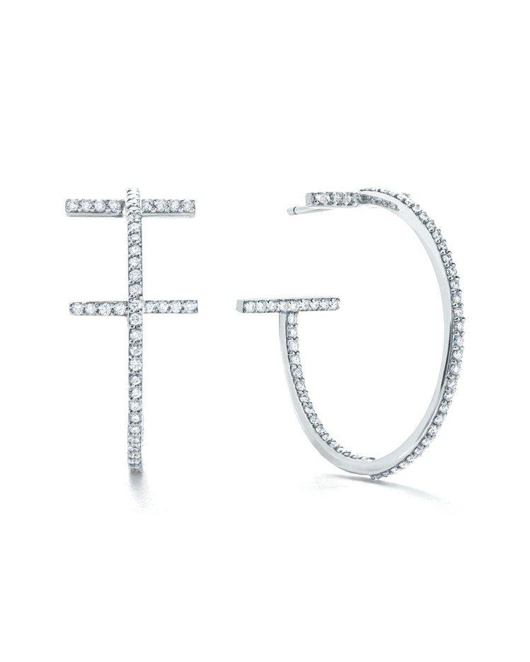 朴敏英配戴的Tiffany T Wire Hoop 18K白金鑲鑽耳環,20萬3...