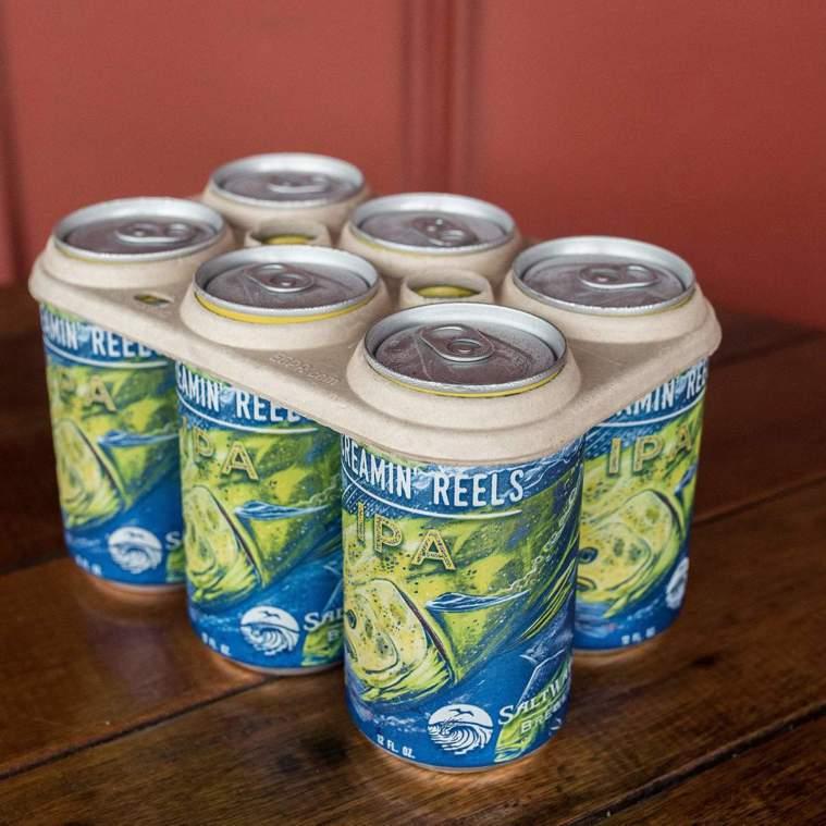 美國Saltwater Brewery啤酒公司運用釀酒餘料發明出環保包材。(圖片...