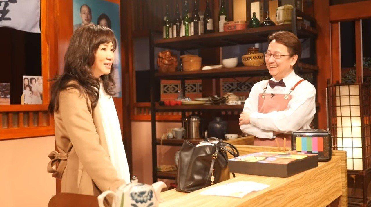 李佳芬(左)上節目《大雲時堂》接受主持人李四端專訪。 圖擷自YouTube