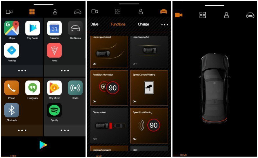 Google Android HMI車用娛樂資訊系統所提供的內容,包含許多Google的相關應用程式。 摘自Polestar
