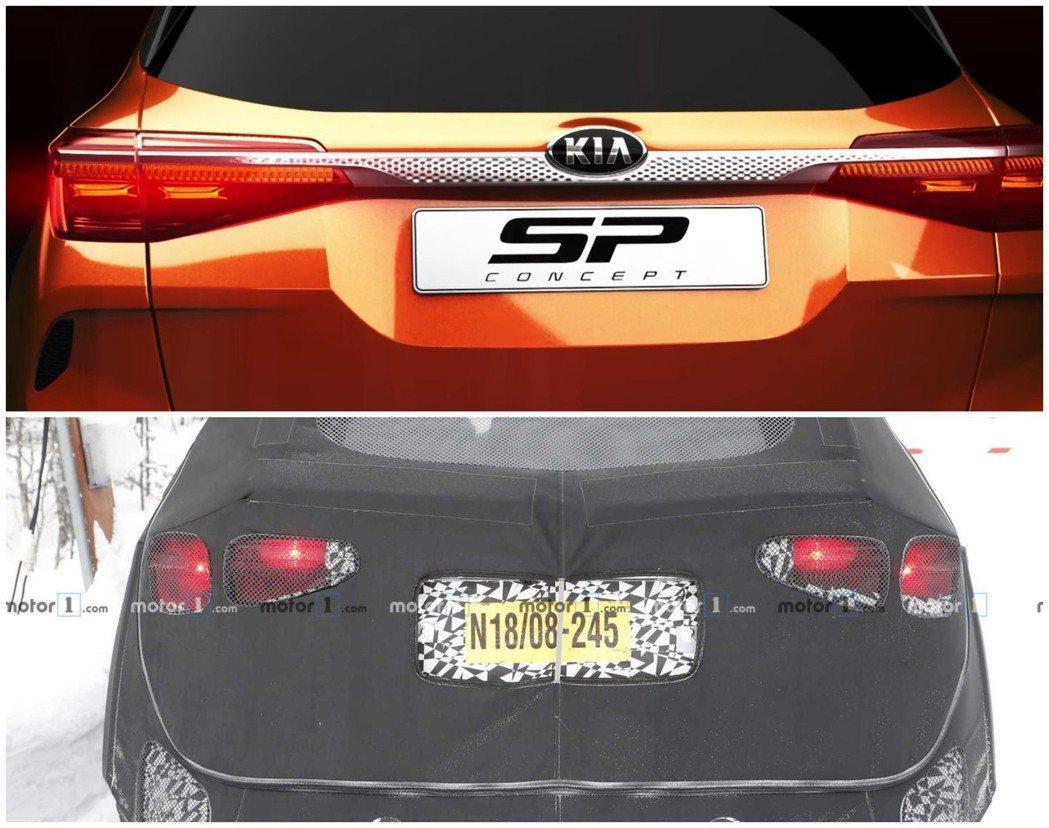 全新Kia Tusker偽裝車與SP Concept車尾對照。 截自Kia影片、...
