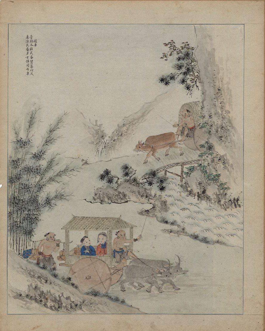 此為 18 世紀《番社采風圖》中原住民乘坐牛車情景,當時漢人同樣也搭乘牛車為代步...