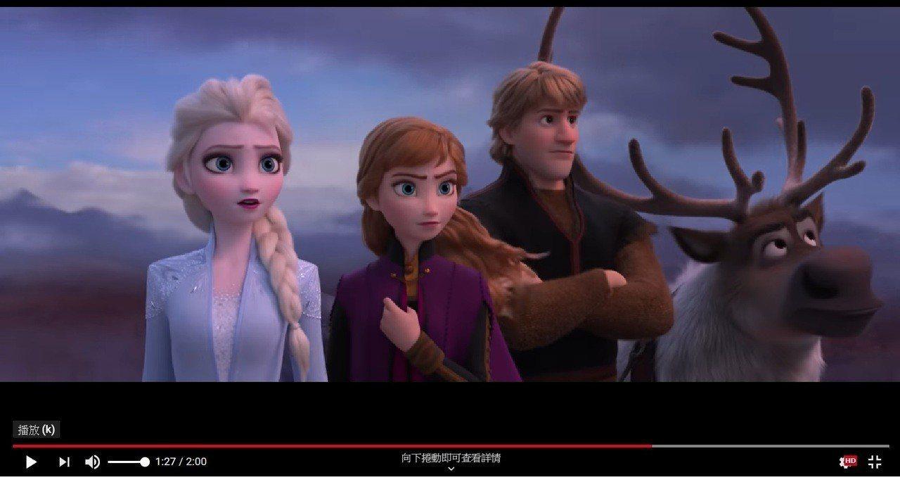 迪士尼日前釋出《冰雪奇緣2》前導預告片,2日就累積超過20萬觀看數。