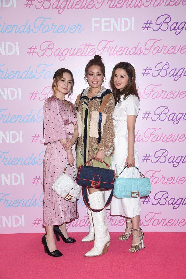 容祖兒和Twins在FENDI香港Baguette夢幻樂園合影。圖/FENDI提...