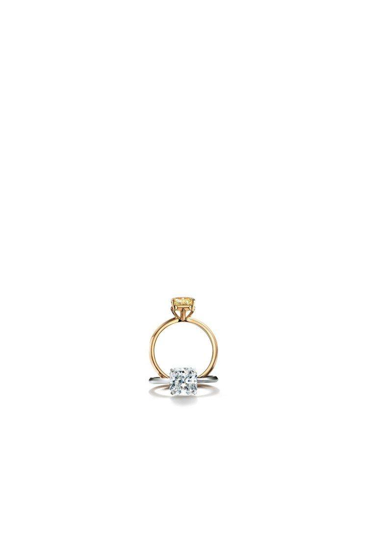 Tiffany True 鉑金鑲嵌白鑽戒指及Tiffany True 18K金鑲...