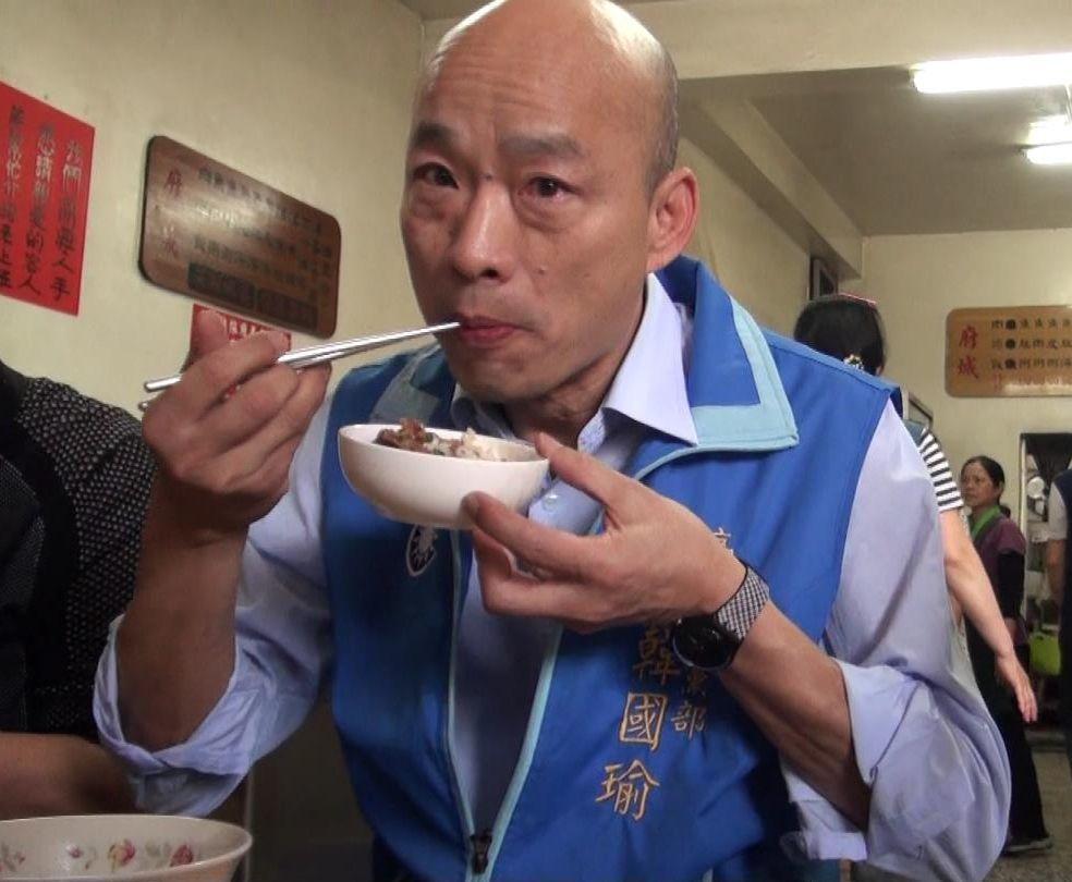 韓國瑜競選高雄市長,辦滷肉飯記者會差點開天窗。圖/聯合報系資料照片