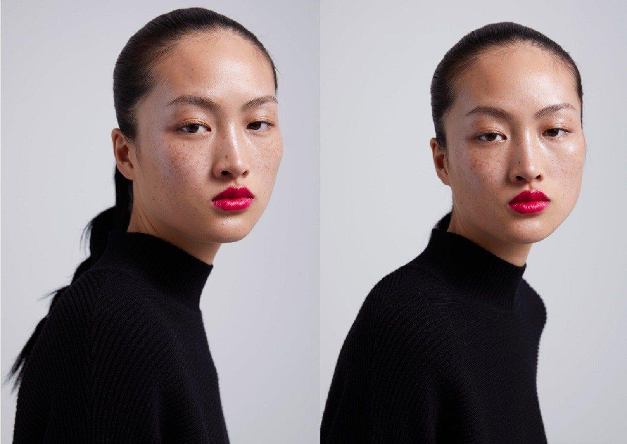 西班牙服裝品牌ZARA,15日在微博上發布新一季彩妝宣傳照,中國模特兒李靜雯裸妝...