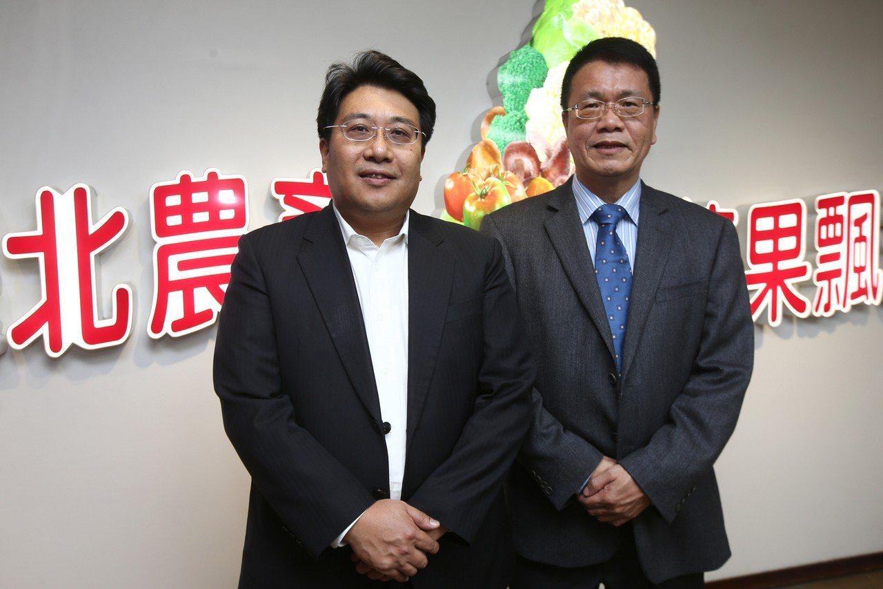 新任的北農董事長黃向羣(左)、北農總經理翁震炘(右)。記者張世杰/攝影