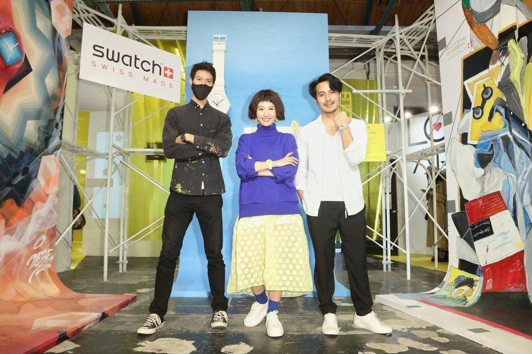 Swatch藝術展,邀請藝術家Debe(左起),藝人Lulu與郭彥甫創作藝術展出...