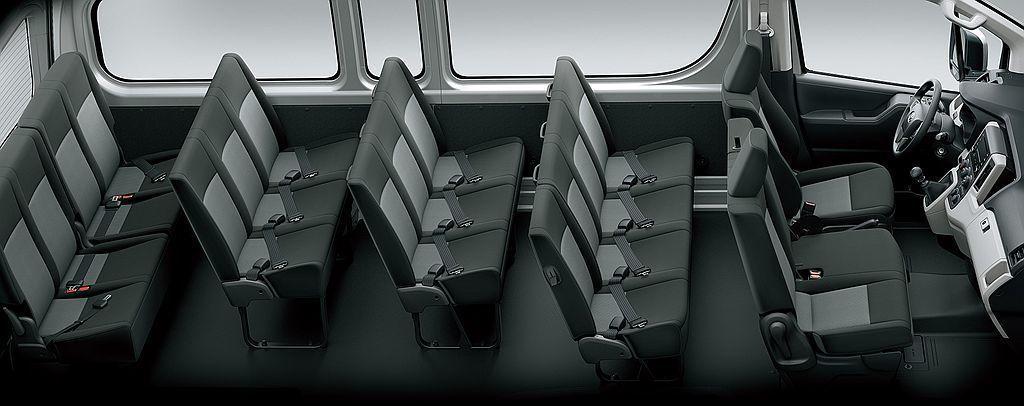 長軸車型不僅最多可容納下五排座椅,人員承載人數更高達17位(包括駕駛)。 圖/Toyota提供