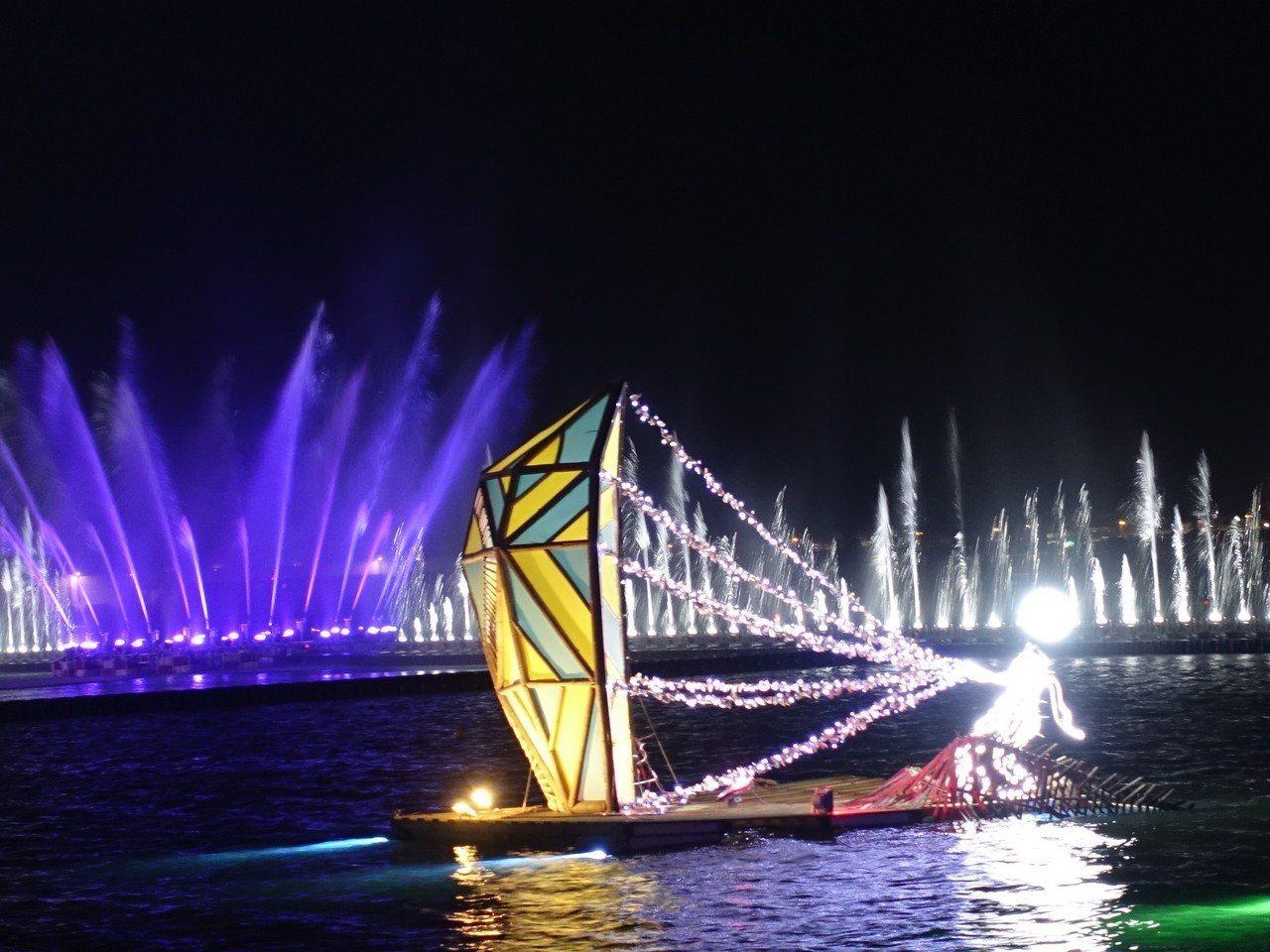 今年的台灣燈會加入水域,光影更美。 聯合報資料照/記者翁禎霞攝影
