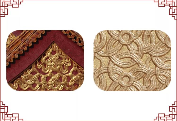 玉琢璨金蜜粉餅中,金錢綬帶紋組成的山花裝飾,讓蜜粉餅保留金色,將北京故宮的建築之...