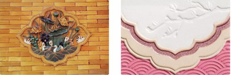 玉蘭望春彩妝盤設計的元素,來自故宮養心殿牆上的「鴛鴦荷花圖」。圖/摘自微信