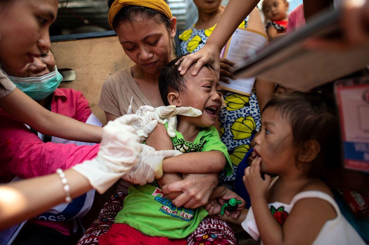 去年全球麻疹病例激增。 法新社