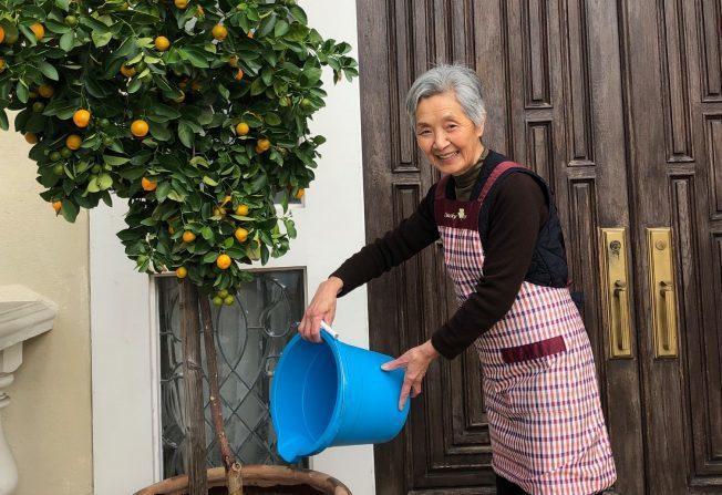 江月影以快樂的心情工作,澆花餵魚皆有樂趣。洛杉磯記者張宏/攝影